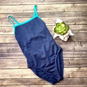 Syrokan Blue & Turquoise One Piece Swimsuit Size L